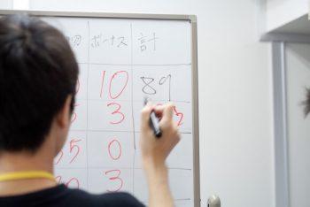 お仕事体験では業務終了後、それぞれの仕事をぶりをポイントで評価する時間があります。